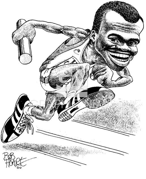 Kriss Akabusi 1992 caricature infographic