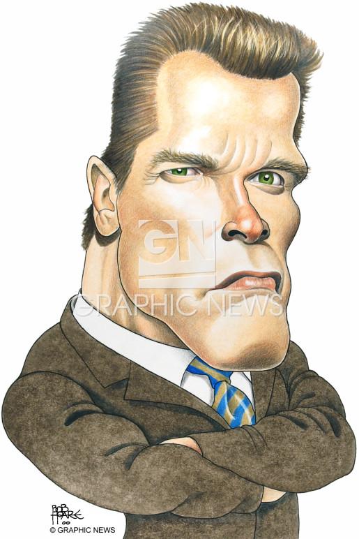 Arnold Schwarzenegger 2003 caricature infographic