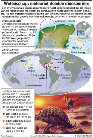 Wetenschap: meteoriet doodde dinosauriërs infographic