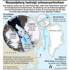 GROENLAND: Reuzenijsberg bedreigt scheepvaartverkeer infographic