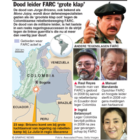 COLOMBIA: Dood FARC-leider 'grote klap' infographic