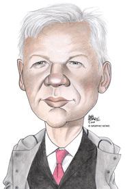 Wikileaks - Julian Assange caricature 2011 infographic