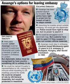 Wikileaks - Assange's options for leaving embassy infographic