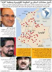 كولومبيا: تأجيل مفاوضات السلام لأسباب لوجستية وأمنية infographic