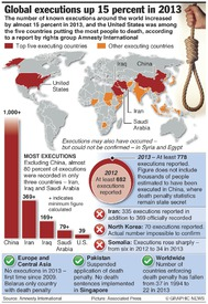 DEATH PENALTY: Worldwide executions 2013 infographic