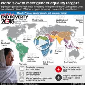 UN: Progress towards gender equality iGraphic infographic