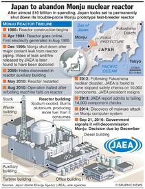 JAPAN: Monju nuclear reactor timeline infographic