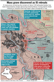 IRAQ: Mass grave discovered as IS retreats infographic