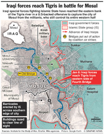 IRAQ: Iraqi forces reach Tigris in battle for Mosul infographic