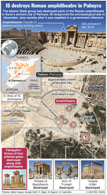 SYRIA: Palmyra amphitheatre destroyed infographic