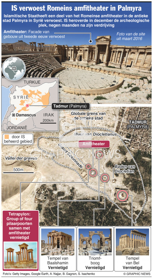 Amfitheater van Palmyra verwoest infographic