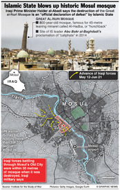 IRAQ: IS blows up historic Mosul mosque  infographic