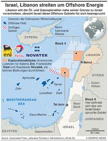 NAHOST: Israel-LIbanon streiten um Offshore Felder infographic
