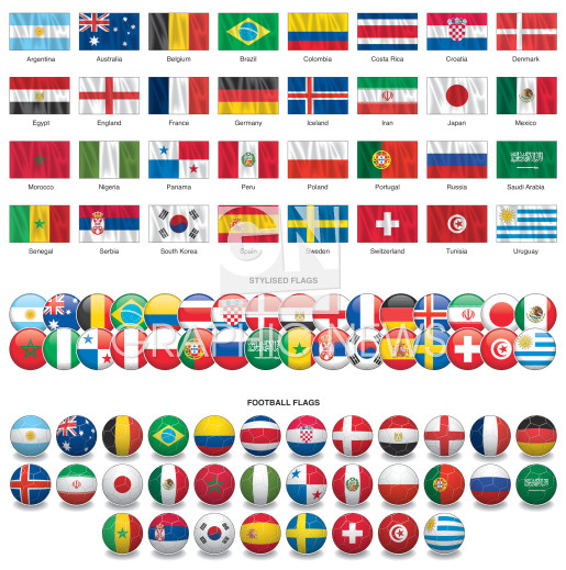 World Cup 2018 flags infographic