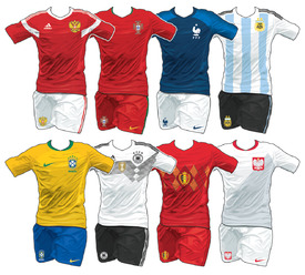 World Cup 2018 team home kits infographic