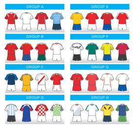 World Cup 2018 team home kit icons infographic