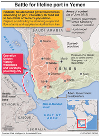 YEMEN: Battle for lifeline port in Yemen infographic