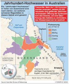 AUSTRALIEN: Hochwasser in Queensland wird stärker  infographic