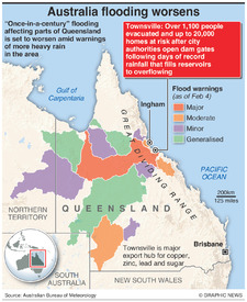 AUSTRALIA: Queensland flooding worsens  infographic