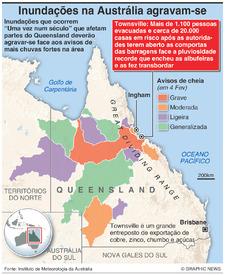 AUSTRÁLIA: Cheias no Queensland agravam-se infographic