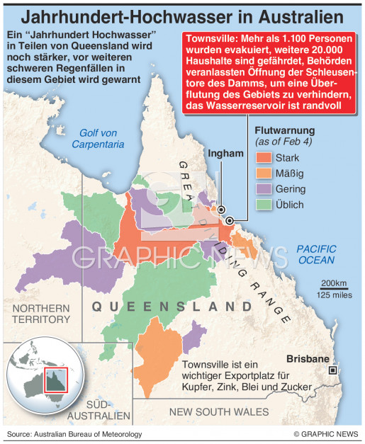 Hochwasser in Queensland wird stärker  infographic