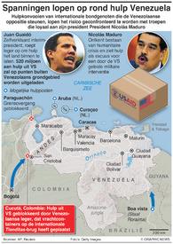 VENEZUELA: Spanningen lopen op rond hulp Venezuela infographic