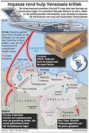 VENEZUELA: Impasse rond hulp bereikt kritiek puntat crisis point infographic