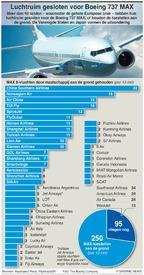 LUCHTVAART: 737 MAX-toestellen wereldwijd aan de grond infographic