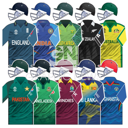 Cricket World Cup 2019 team home kits infographic