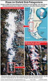 CHILE: Risse im südlichen Patagonien Eisfeld infographic