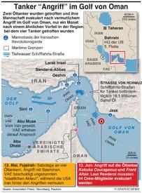 MITTELOST: Angriff auf zwei Tanker im Golf von Oman infographic