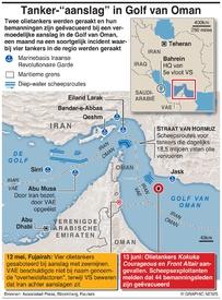 MIDDENOOSTEN: Twee tankers geraakt in Golf van Oman infographic