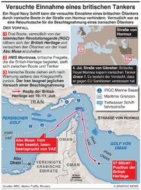 MITTELOST: Iranische Boote versuchen britischen Öltanker zu besetzen infographic