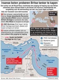 MIDDENOOSTEN: Iraanse boten proberen Britse tanker te kapen infographic