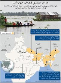كوارث: عشرات القتلى في فيضانات جنوب آسيا infographic