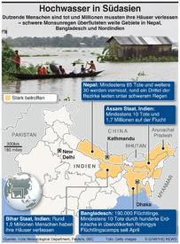 WETTER: Zahlreiche Tote durch Hochwasser in Südasien infographic