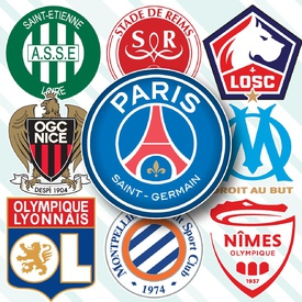 French Ligue 1 crests 2019-20 infographic