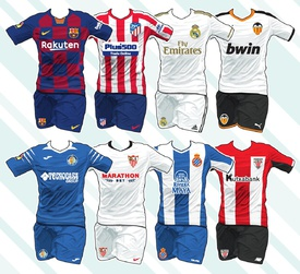 Spanish La Liga kits 2019-20 infographic