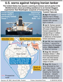 MIDEAST: Iran tanker heading for Greece infographic