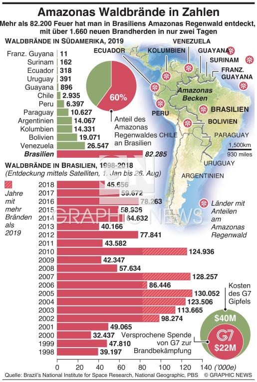 Amazonas Waldbrände in Zahlen infographic