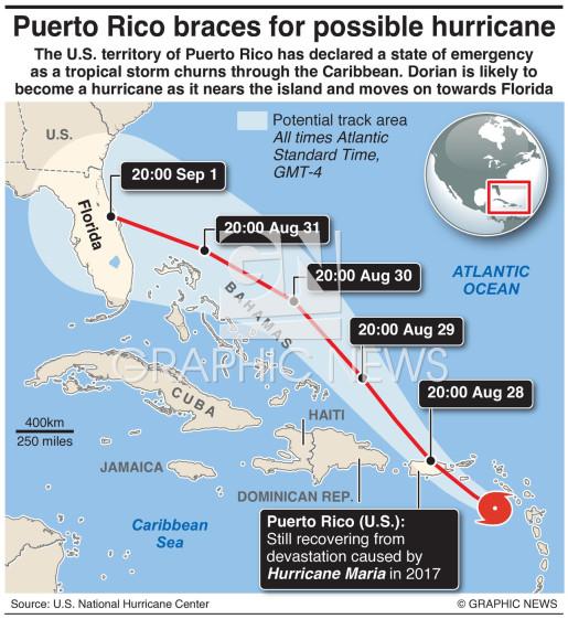 Tropical Storm Dorian infographic