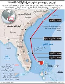 مناخ: الإعصار دوريان يهدد الولايات المتحدة infographic