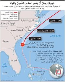 طقس: دوريان يمكن أن يغمر الساحل الأميركي بالمياة infographic