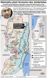 MITTELOST: Netanjahus Plan zur Annexion des Jordantales annexation plan infographic