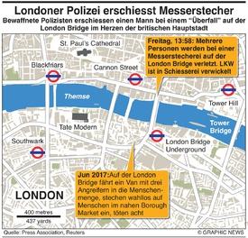 KRIMINALITÄT: Londoner Polizei erschiesst Messerstecher infographic