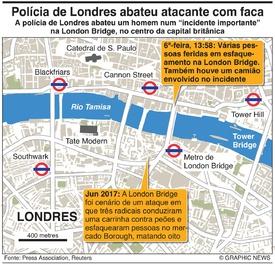 CRIME: Polícia de Londres abate atacante com faca infographic