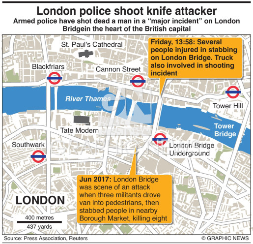 London police shoot knife attacker infographic