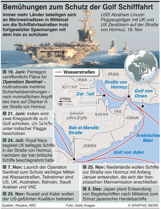 Multinationale Bemühungen zum Schutz  im Golf infographic