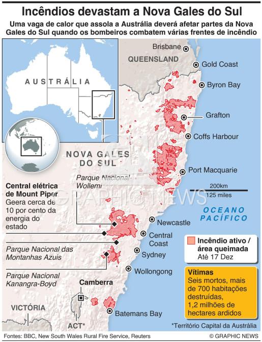 Incêndios na Nova Gales do Sul infographic