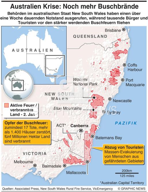 Tausende flüchtn vor Buschbränden infographic